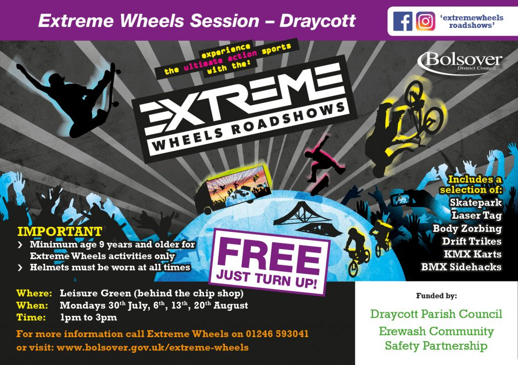 Extreme Wheels Sessions - Draycott A5 flyer